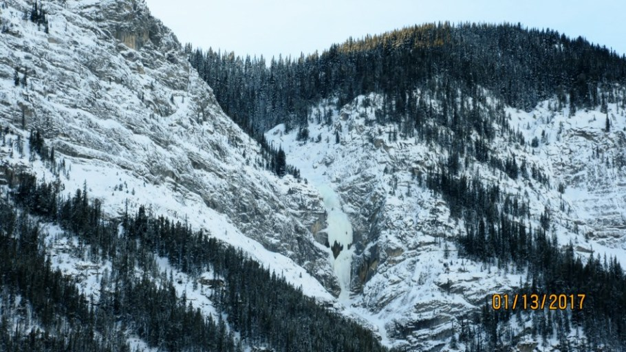 Ice climbers on the South Banff Range which includes Sulphur Mountain