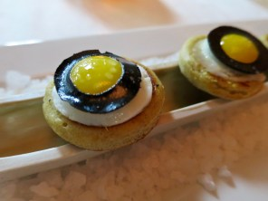 Amuse 5: Buckwheat Blini, black truffle, quail egg, camembert