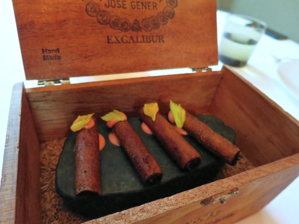 Amuse 6: Waygu Cigars, served with a shimeji shot