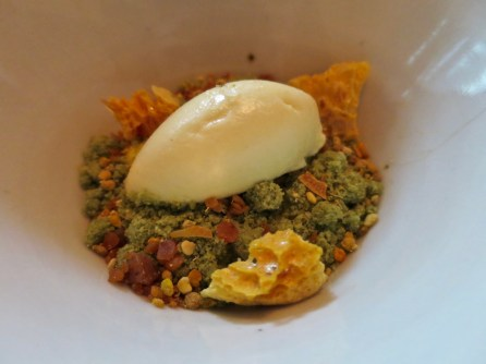 Course 11: Chamomile, honey, pistachio, dijon mustard