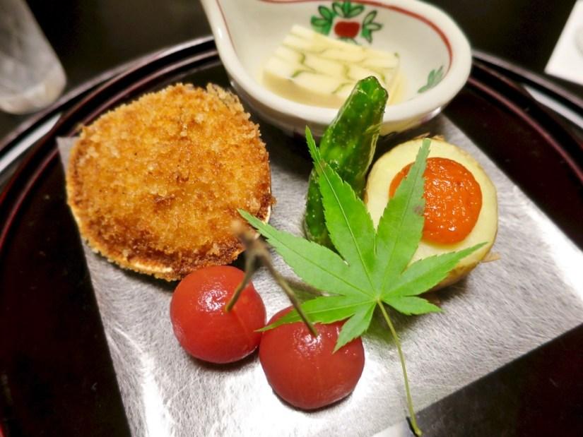 Appetizers - Stuffed clam, tofu, uni on potato, blanched cherry tomato