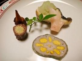 Spring fish w/ radish relish, lotus w/ mustard, beef wrapped baby corn