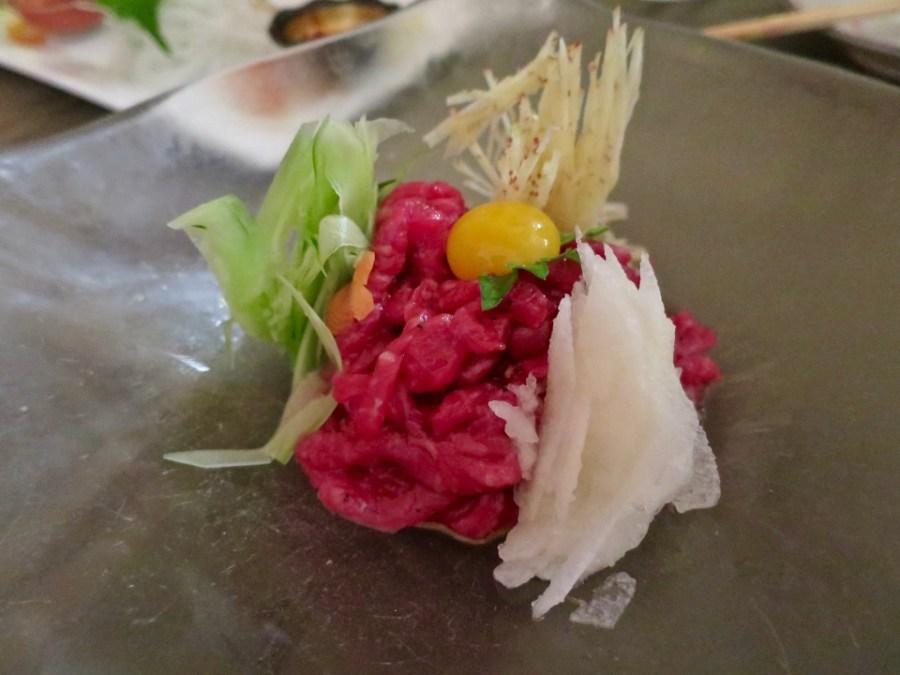 Yuk Hoe - Beef tartare, quail egg, ginger, cucumber, pear - Totoraku, LA, March 2016