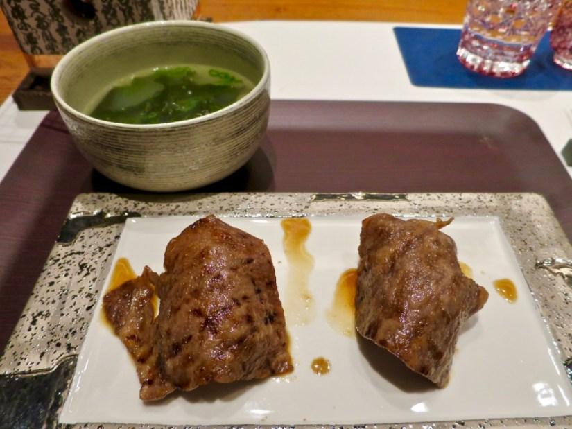 Yakiniku over rice, wakame soup