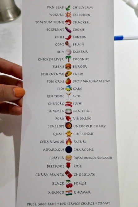 Gaggan - menu given at end of meal
