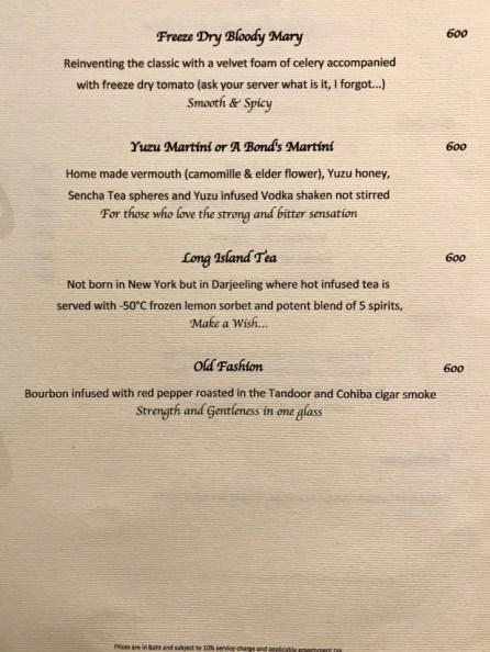 Gaggan - cocktail menu page 2