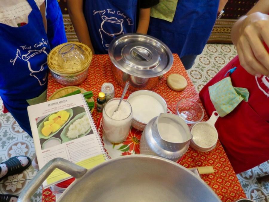 Mango sticky rice (Khao Naew Ma Muang) ingredients