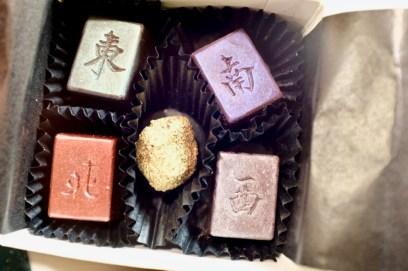 Custom majong chocolates by Oakland chocolatier Karen Urbanek of Flying Noir