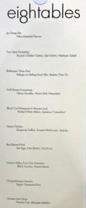 Eight Tables Tasting Menu Sept 2017