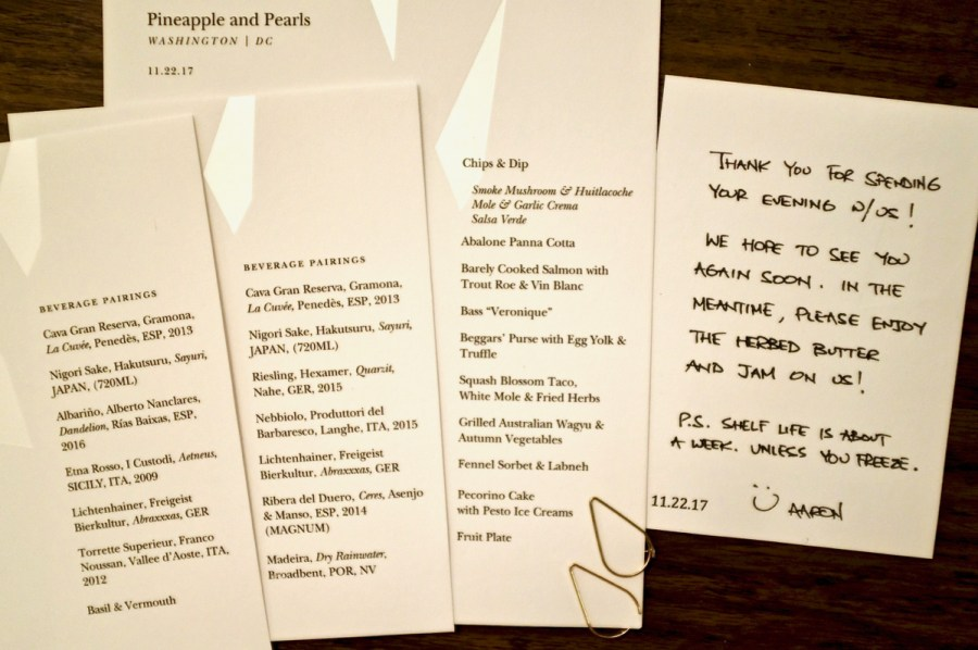 Pineapple & Pearls - Dinner Menu