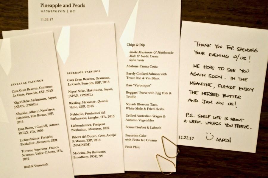 Pineapple & Pearls - Dinner Menu