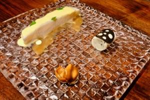 Atelier Crenn - Striped bass & oyster bearnaise, boudin blanc & truffle, and braised chanterelle