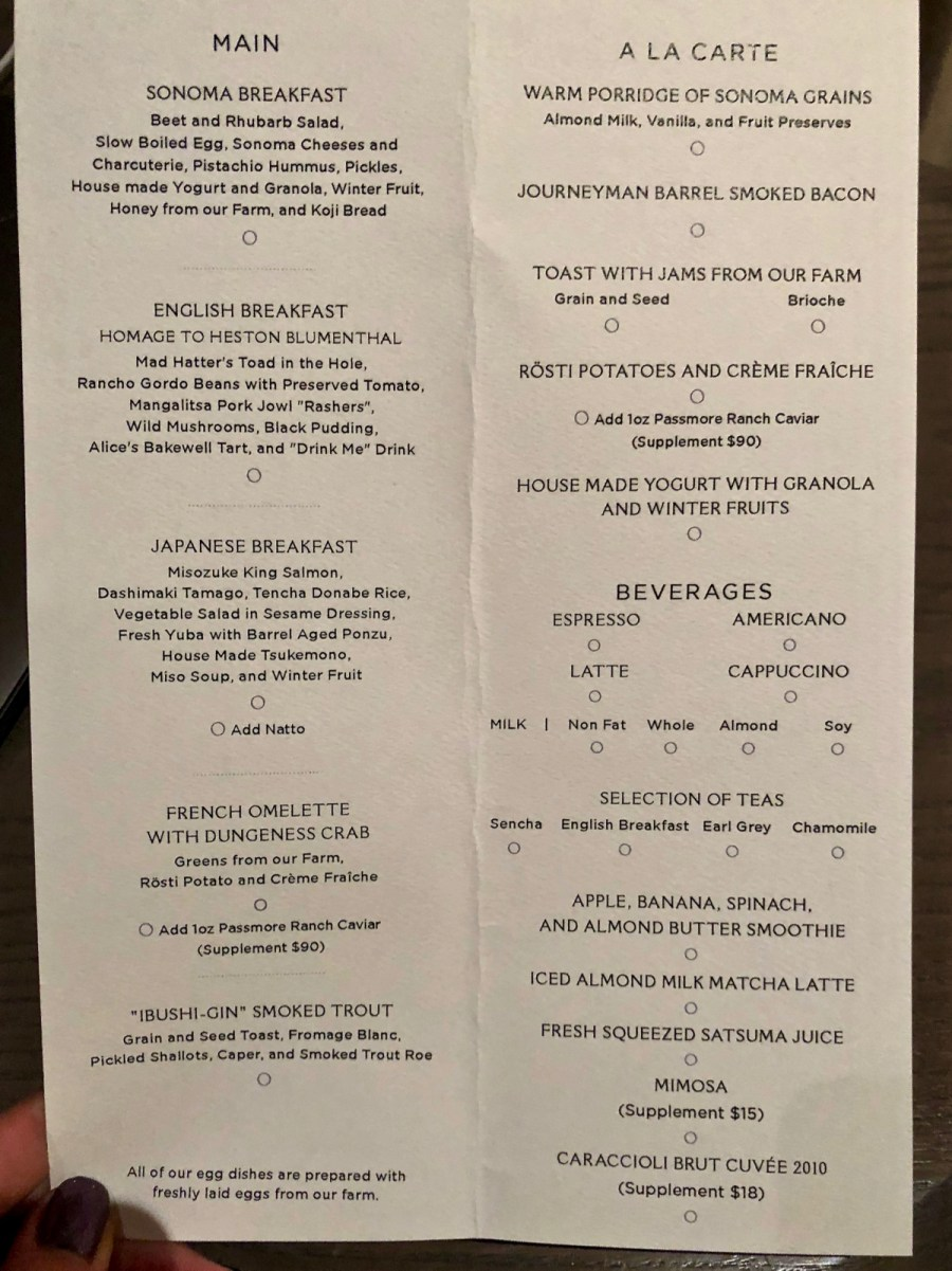 Singlethread Farm - Breakfast Menu, April 2018