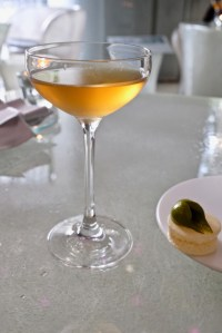 """Enigma Concept - Sherry """"shede"""" cocktail, Air pancake with pistachio"""