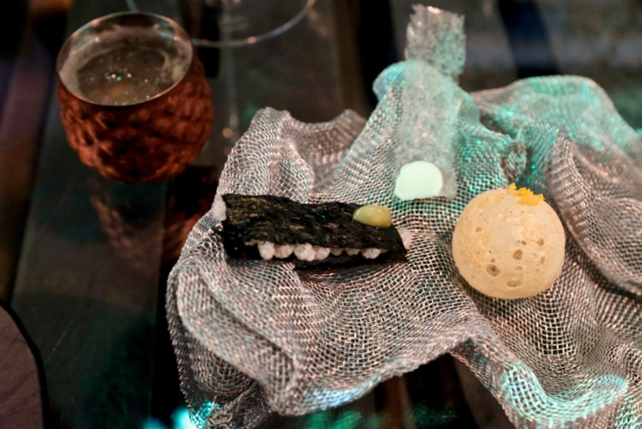 Enigma Concept - Ginori cocktail. Nori millefeuilles, Yuzu crystal, Parmesan sphere