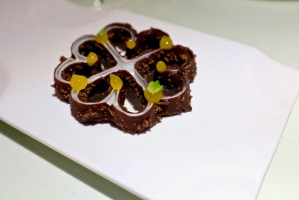 Tickets - Chocolate and coconut flower, passion fruit gel, mint leaves