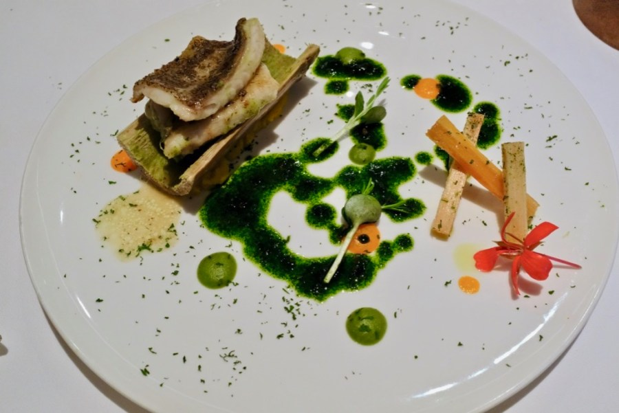 Arzak - Sole in the Reeds, roasted in hollowed sugar cane, carrot & white cacoa juice infused sugar cane, parsley sauce