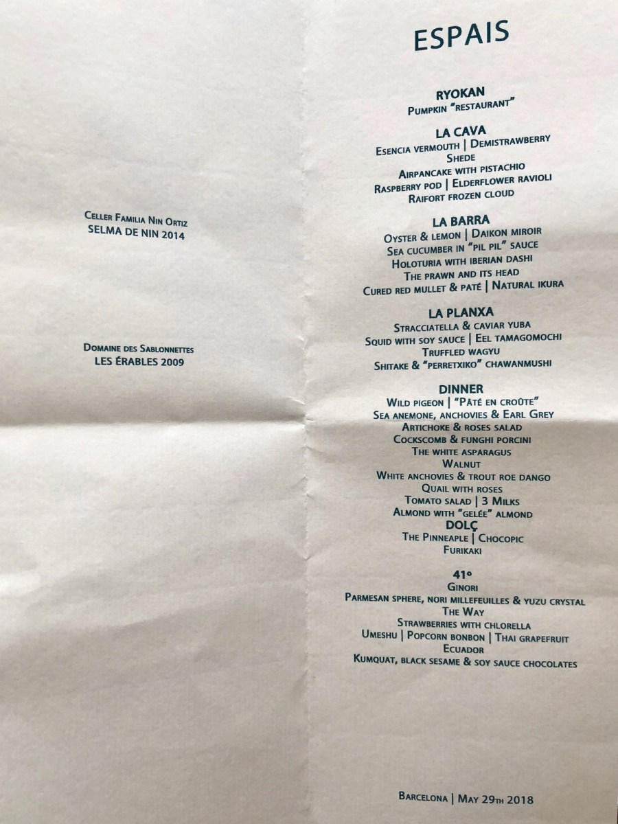 Enigma Concept - Dinner Menu May 2018
