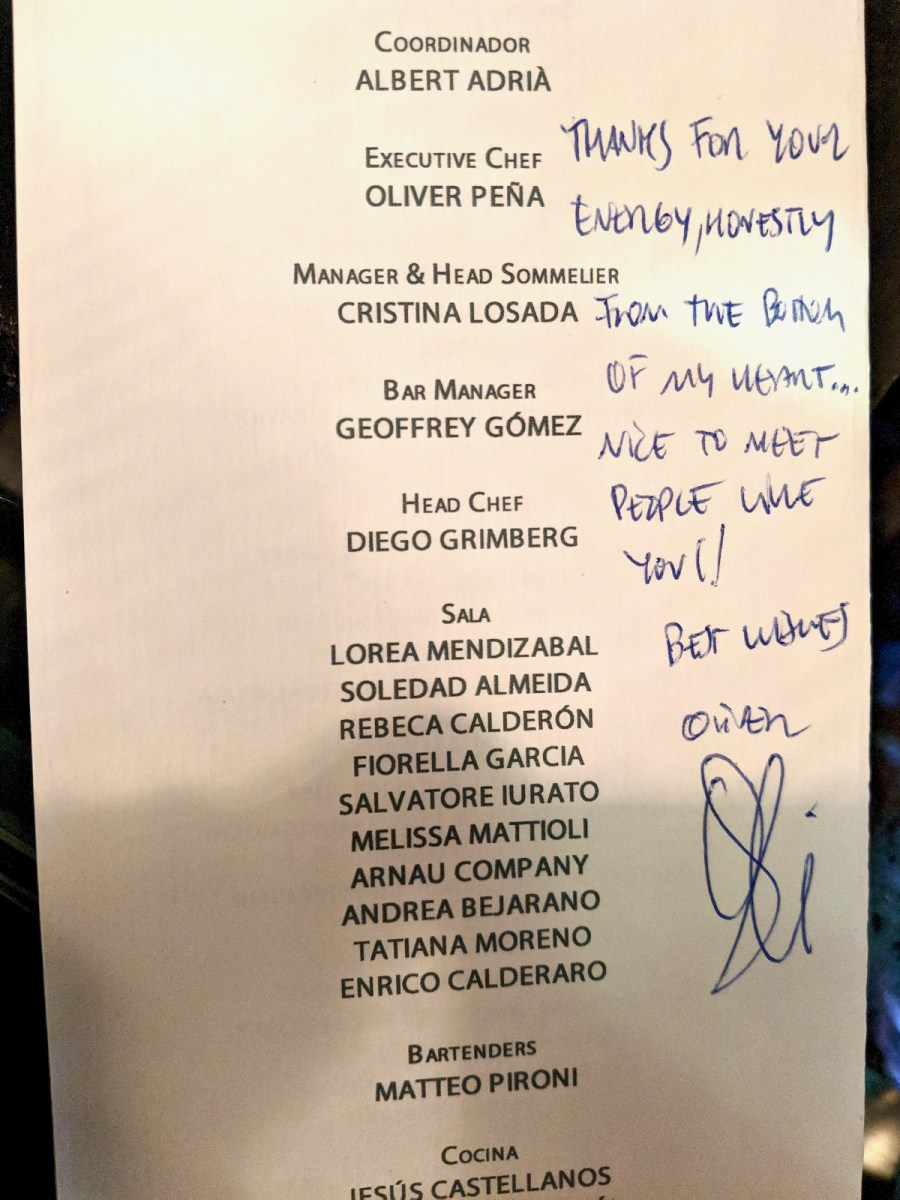 Enigma Concept - Menu signed by Chef Peña