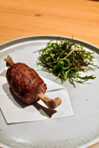 "Maum - Duck ""Dduckgalbi"", scallion salad."