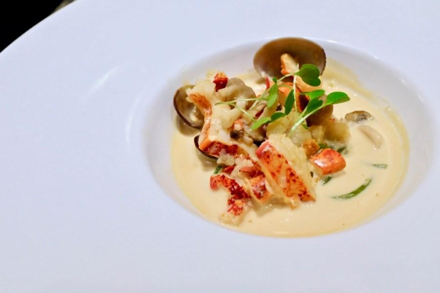 Kame Omakase - Lobster Claw, Manila Clam, Shimeji, Green Tea Soba, Uni Beurre Blanc, Orange