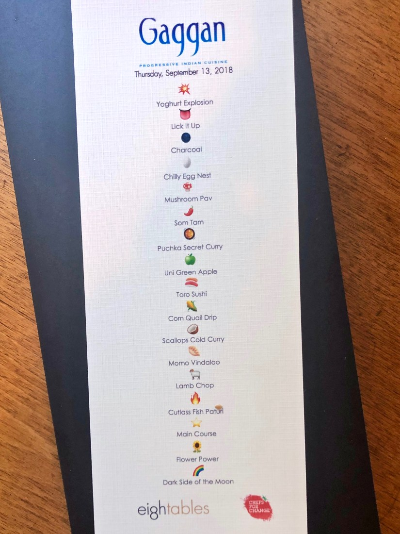 Gaggan at Eight Tables - Emoji Menu with Course Names