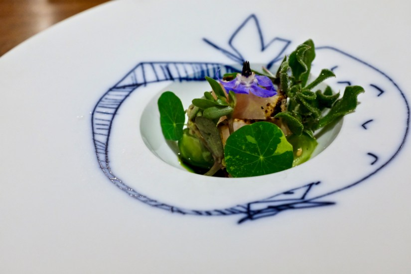 "Dialogue LA - ""Kanpachi for Nancy"", fermented tomato, purslane"