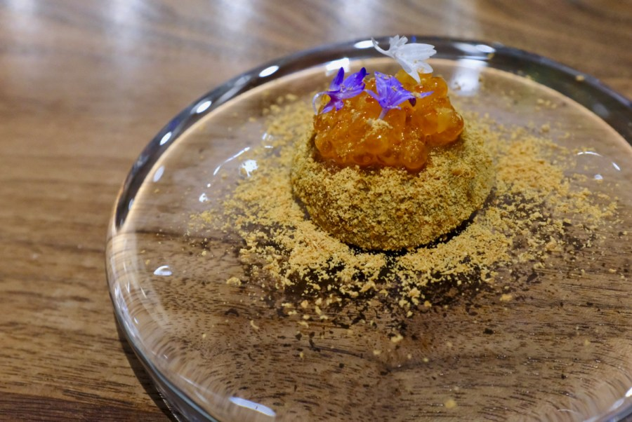 Dialogue LA - Warabi Mochi, trout roe, kinako (roasted soybean flour)