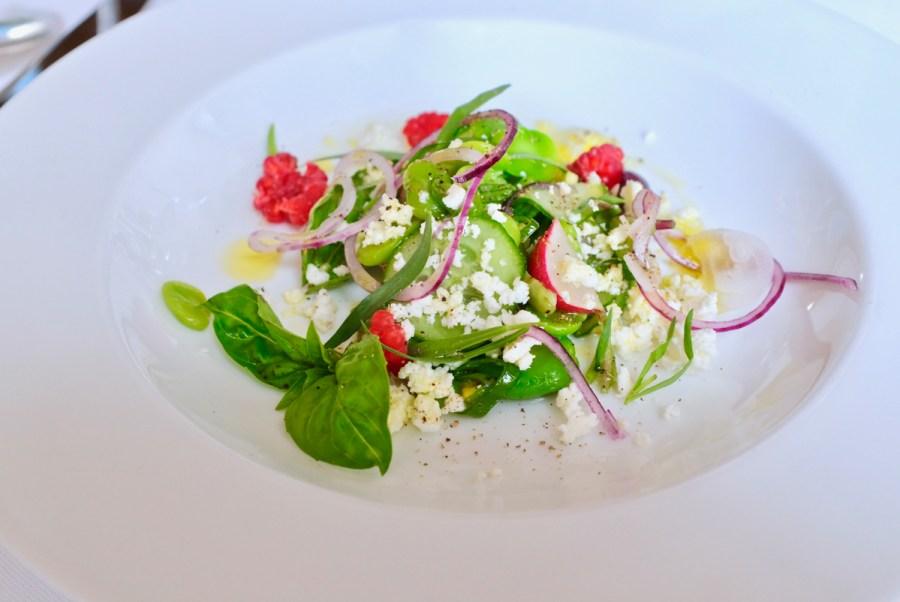 Arpege - First Fava of Season, raspberry, tarragon, feta, basil