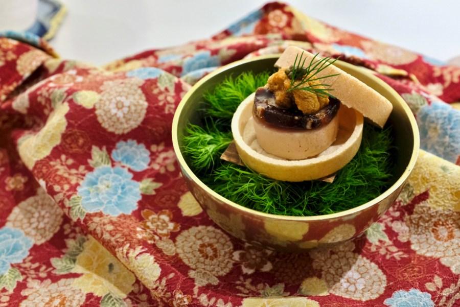 The Shota - Foie Gras - foie gras, yuzu persimmon, uni, caviar, monaka