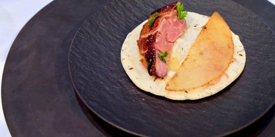 Californios - Pichón - squab, asain pear, salsa adobada, moyoga ginger, sourdough tortilla