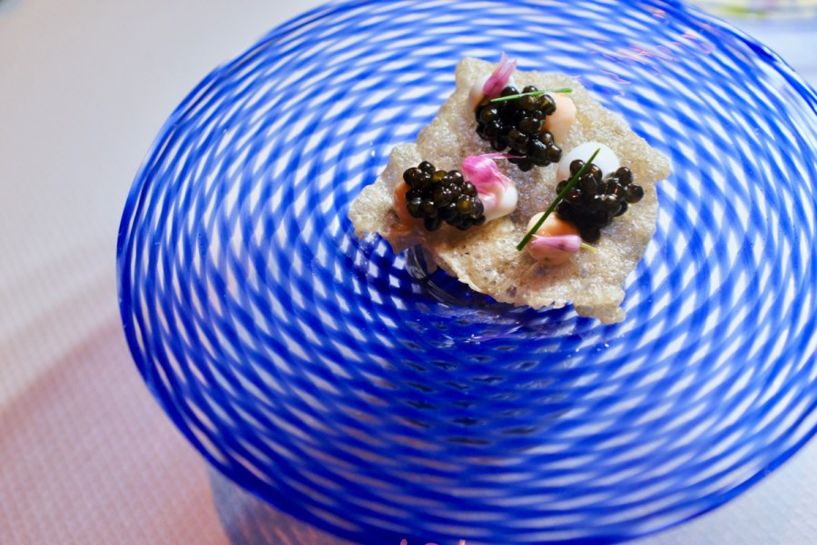 Quince SF - Tsar Nicoulai Caviar, Calfornia King Salmon, Flowering Chives. Dish 2 of 2