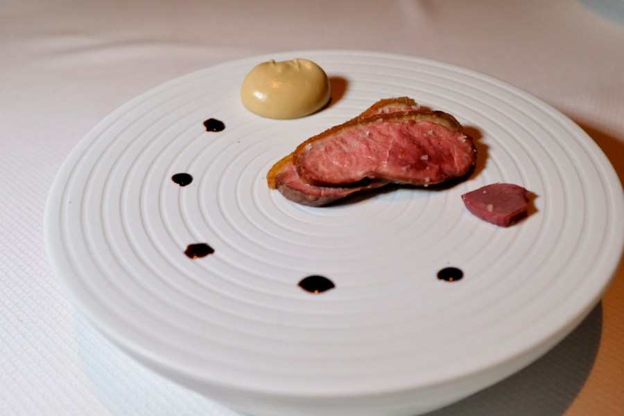 Quince SF - Dry Aged Sonoma Duck, Roasted Breast, Porcini Mushroom Puree, Duck Gizzard, Extravecchio Balsamico. Dish 2 of 2.