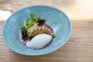De Kas - Pistachio cake, pistachio cream , fig leaf sorbet, cherry, watercress