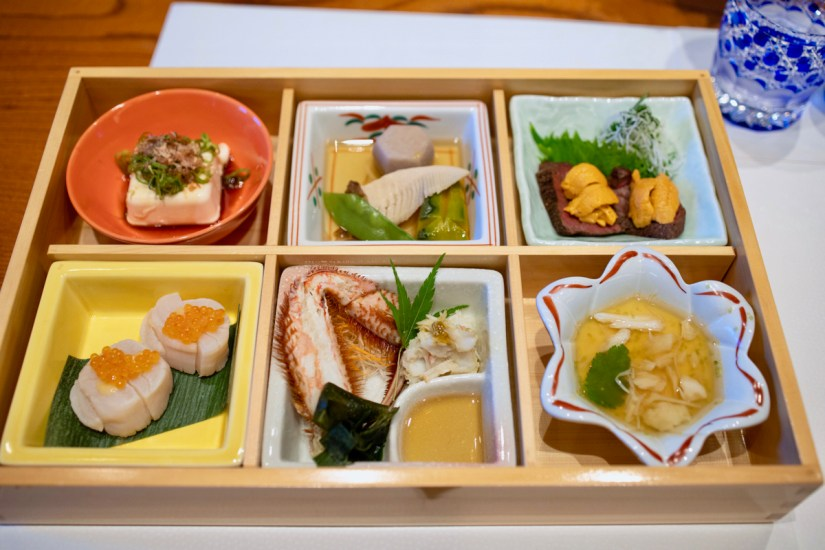 Hiroshi - Bento Box - Hokkaido Tofu, Takiawase Nimono, Wagyu Tatake Hokkaido Uni,
