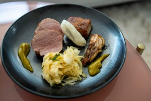 Anomaly SF Takeout - Pork Tenderloin and Belly, Mint Mandarin Emulsion, Chicharron, Fennel