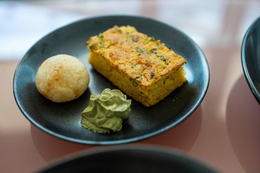Anomaly SF Takeout - Pão de Queijo, Miso Scallion Corn Bread, Basil Butter