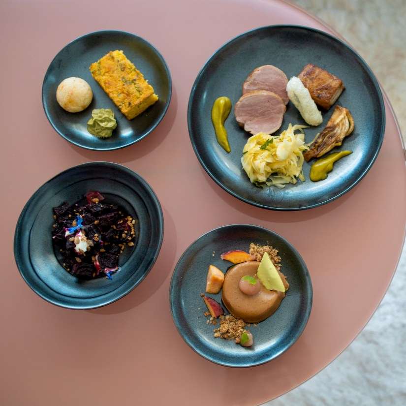 Anomaly SF Takeout - Tabil Spiced Beets, Pão de Queijo, Miso Scallion Corn Bread, Pork Tenderloin and Belly, Corn Pie