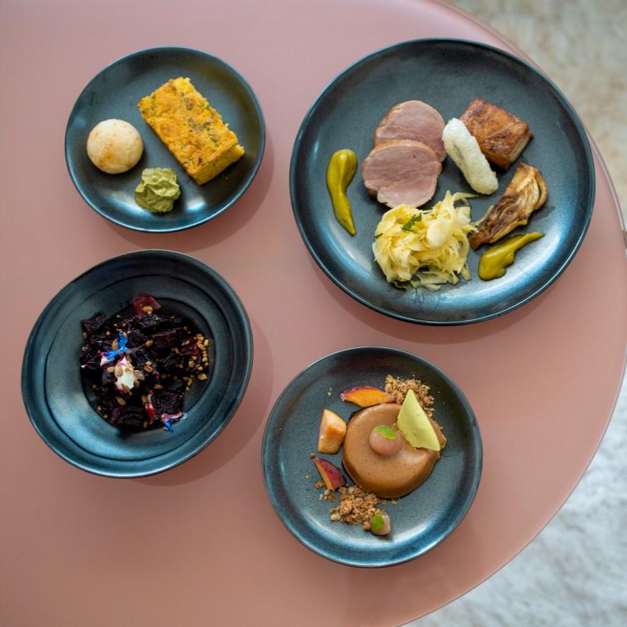 Anomaly SF Takeout - Tabil Spiced Beets, Pão de Queijo, Miso Scallion Corn Bread, Pork Tenderloin and Belly, Corn Pie