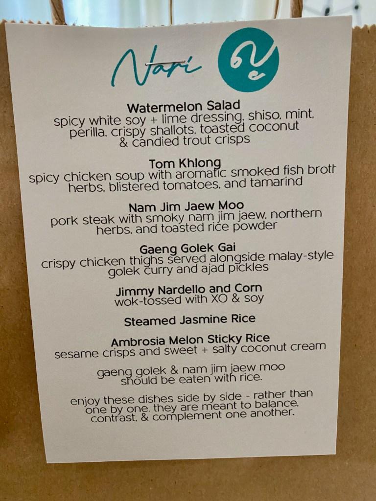 Nari Takeout Dinner Set Menu for July 14 - 18
