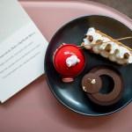 Acquerello - Millefoglie with vanilla, mascarpone and caramel. Chocolate tart, guanaja cremeux and almond rocher glaze. Yuzu and raspberry cake, macaron and gimauve.