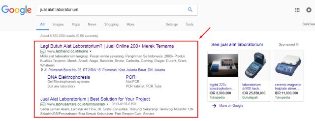 Contoh Tampilan Google Search Ads