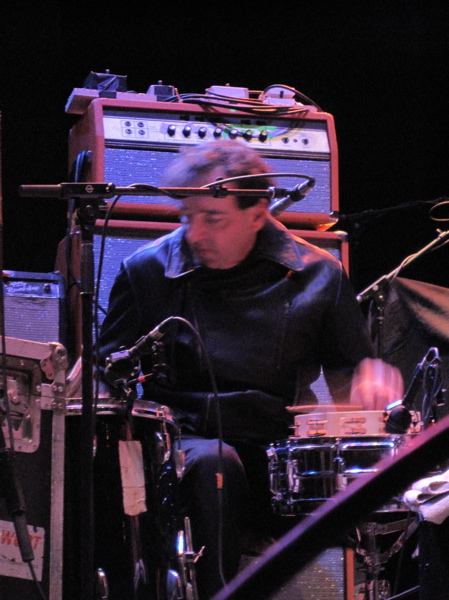 The Feelies' percussionist Dave Weckerman hard at work.