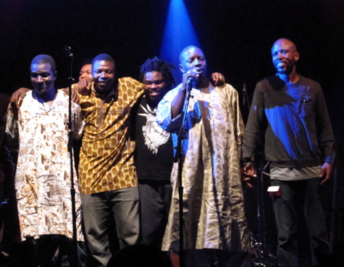 Vieux with members of his band and the Blk Jks.