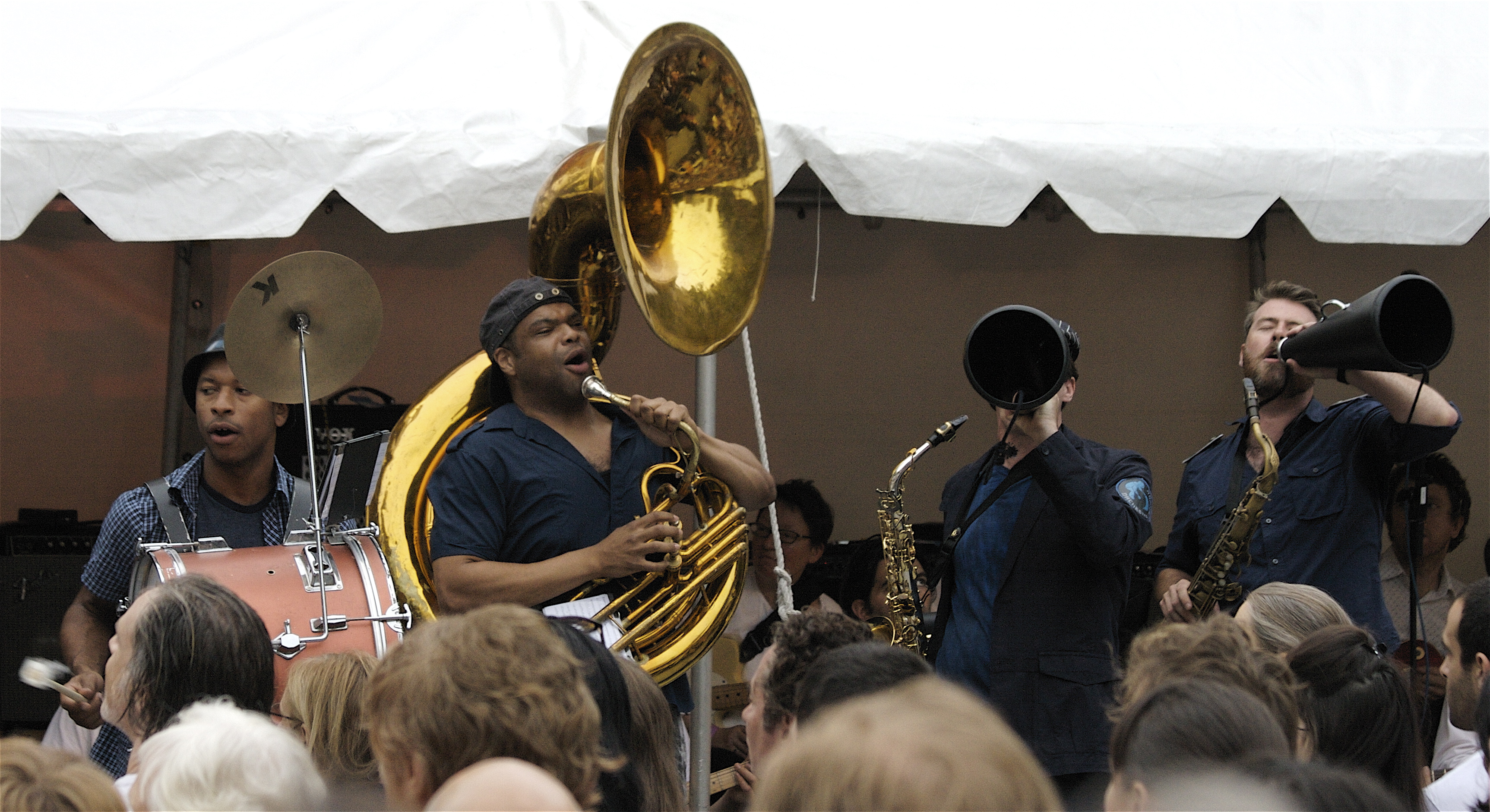 """Asphalt Orchestra marched to the front of Damrosch Park last night to entertain the crowd assembled for Rhys Chatham's """"A Crimson Veil."""" (Copyright 2009, Christine Maurus)"""
