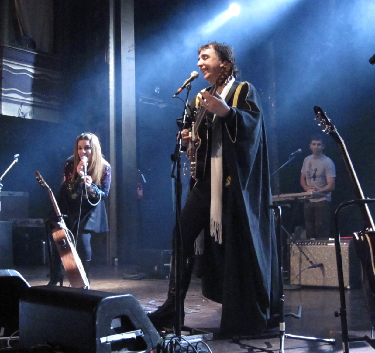 Sergio Diás leading Os Mutantes through a rollicking set at NYC's Webster Hall. (Photos copyright 2009, Steven P. Marsh)