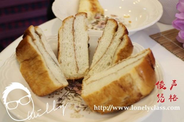 肉桂面包的切面