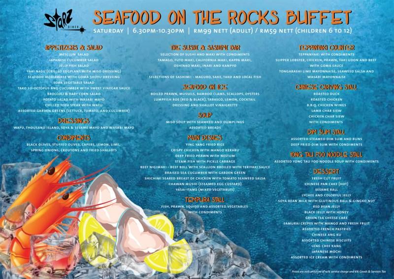 Seafood on the rocks buffet (week 1 & 3)