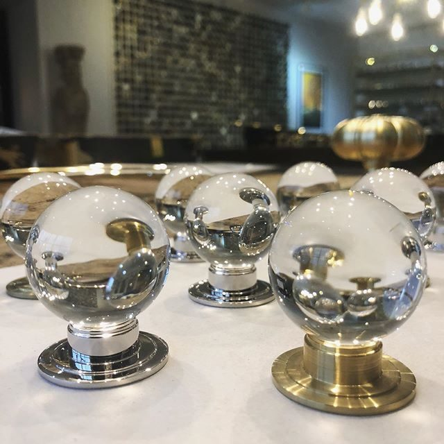 We love these Elden glass cabinet knobs | polished nickel and brushed brass