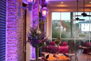 subtle violet wall uplighting